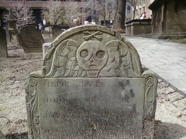 King's Chapel gravestone with similar design, added crossed bones at top. Photo from Pinterest.
