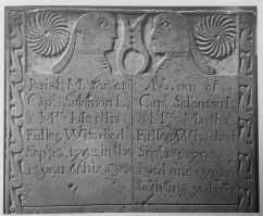 1793 gravestone, likely carved by Ezra Stebbins. Somers, CT. (Image by Daniel and Jessie Lie Farber, in Slater 1987: 259)