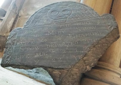 Mary Stow, 17[??]. This stone was recovered from an excavation at the Anglican Cathedral in St. John's. Photo by author, 2016.
