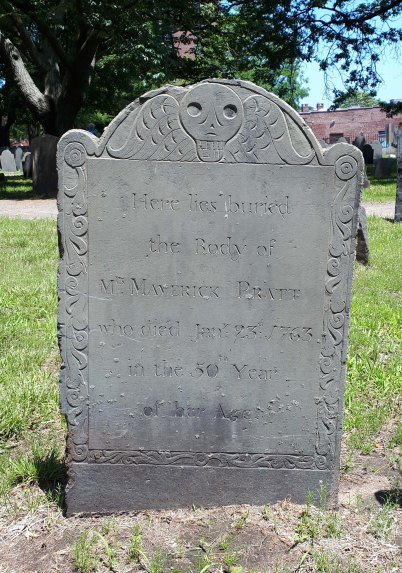 Mrs. Maverick Pratt stone, 1763. Photo by author, 2017.