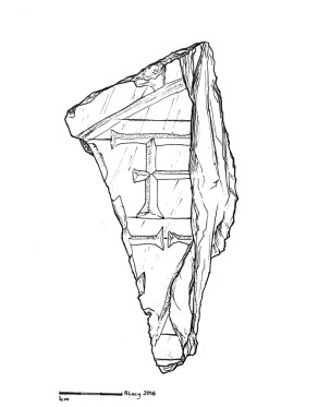 Illustration of one of the Ferryland Gravestone Fragments (Lacy 2016)