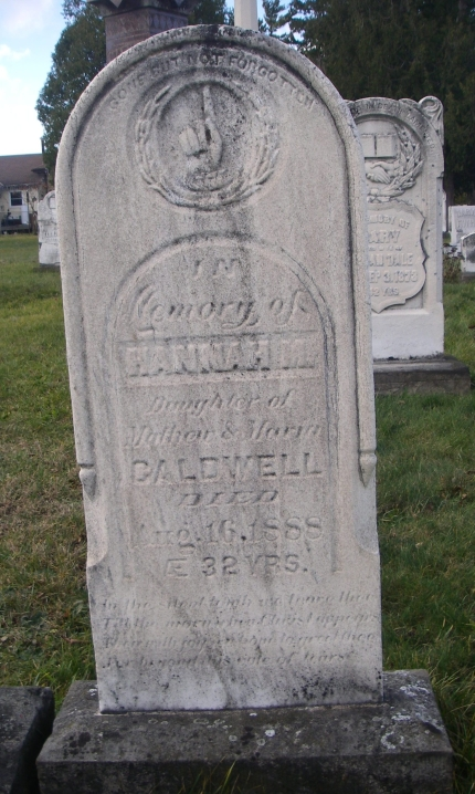 Gravestone of Hannah Caldwell (Photo by David Hall 2015)