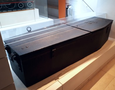 An iron coffin-shaped mortsafe to hold the dead, Airth 1831. On display at the National Museum of Scotland (photo by author 2019)